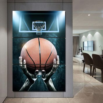 3 Piece Canvas Art Basketball Shot Canvas Panel Wall Art Picture Print Cuadros