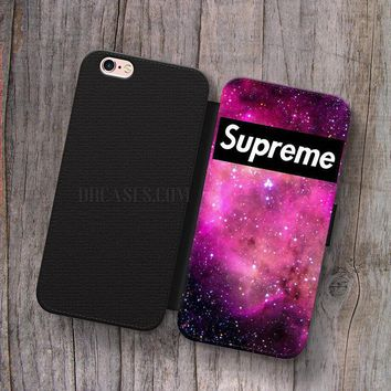supreme galaxy nebula Wallet Leather Case for iPhone 4s 5s 5C SE 6S Plus Case, Samsung
