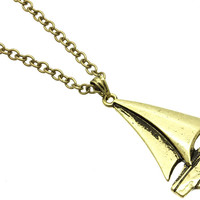 NECKLACE / LINK / METAL / BURNISH / SAILBOAT / 1 1/4 INCH DROP / 28 INCH LONG / NICKEL AND LEAD COMPLIANT