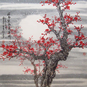 Cherry Blossom  painting chinese watercolour painting original chinese art-cherry blossom tree No.53
