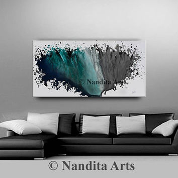 "Original oil painting on canvas, Large painting, Contemporary art home decor, Abstract ""Aquatic Flow 2"" Turquoise Artwork - Nandita Albright"