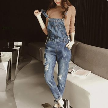 US Stock! Fashion Denim Overalls Women Jeans Jumpsuit Rompers Ladies Vintage Denim Jean Overalls Pant