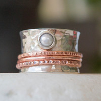 Spinner ring, Wide band ring, Sterling silver handmade spinner ring, Mixed meta ring, Silver and copper, Atrisan ring, Custom made ring