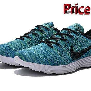 men shoes casual sneakers Nike HTM Flyknit Trainer+ Emerald Green Black White 535089 400 shoes