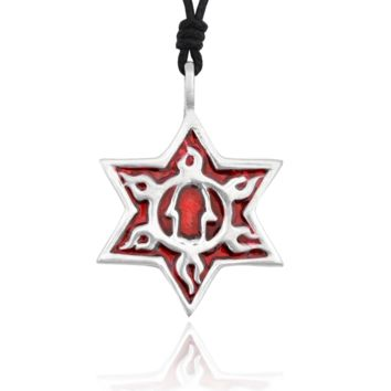 Colorful Star Of David Hamsa Silver Pewter Charm Necklace Pendant Jewelry