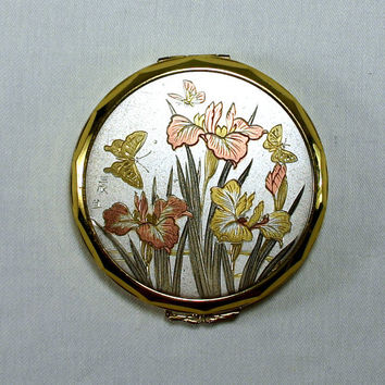 Vintage Pink Lady Metallic Lily Flower and Butterfly Brass Make up Compact Mirror Antique Retro