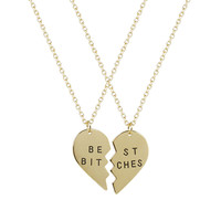 Best Friends Forever Best Bitches Heart Pendant Necklaces (2 PC)