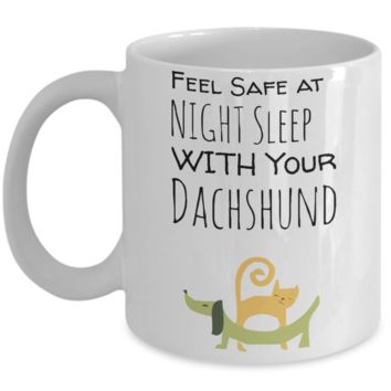 Dachshund Puppy Cat Mug for Dog & Cat Lovers - Cute Inspirational White 11 oz Gift for Dog Moms - Motivational Wiener Dog Gift For Her - Funny Hot Cocoa, Coffee, Tea Doggy Cup!