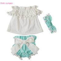 2017 Newborn Baby Girls Clothes Pompom  Off  Shoulder Tops Short Sleeve Headband 3 Pieces Bow Outfits Baby Girl Clothing 0-3Y