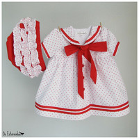 Baby Girl Outfit - Baby Girl White cotton dress with Red stars and baby diaper cover - 2-piece set