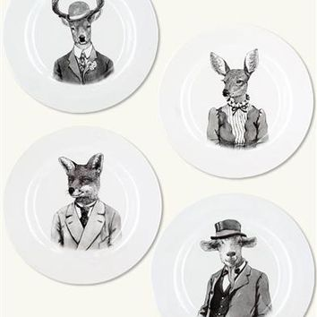 Personified Animal Plates (Set Of 4) - Animal People Plates