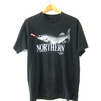 Black Northern Ely Minnesota Native T Shirt Cotton Shirt Travel Tee Souvenir Novelty Oversized Tshirt Unisex Coed size Medium Fish Fishing