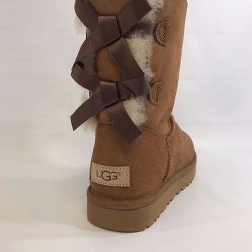 DCCKIN9 Women's Shoes UGG Bailey Bow II Boot 1016225 Chestnut *New*