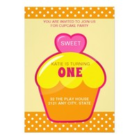 Cute Girly Cupcake Birthday Invitation