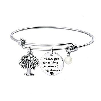WUSUANED Thank You For Raising The ManLady Of My Dreams Bracelet Family Tree Bracelet Thank You Gift for Mother In Law