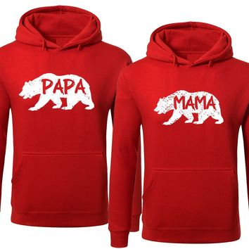 BOLD Bear Family Hoodie for Mama Bear & PAPA Bear Pullover Sweater-Red-Price for 1