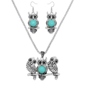 Owl Necklace Set - Turquoise Owls on a Branch