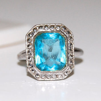 Art Deco Blue Glass Stone Ring, Marcasites, Signed Sterling Theda