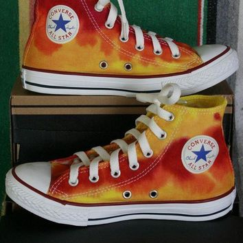 ICIKGQ8 youth sz 2 hand dyed fire converse hi top sneakers