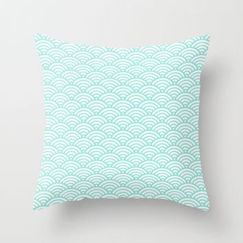 Wave Tiffany Blue Throw Pillow by Beautiful Homes