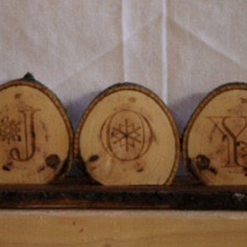 Rustic Christmas Joy Engraved Hickory Discs Repurposed Decorative Art