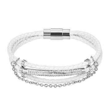 Elegant White Woven Iced Out ID Bar 14k Rhodium Finish Leather Bracelet Magnetic Clasp