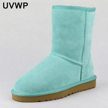 2017 New Style Hot Sale 100% Genuine Leather Fashion Girls Winter Snow Boots For Women Warm Winter Shoes Free Shipping
