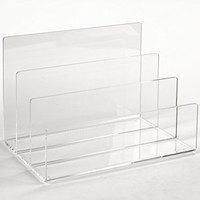 Clear Lucite Desktop Mail Organizer Holder; File Sorter; Letter, Folder, Paper Organizer; Makeup, Eyeshadow Palette Organizer, Electronics Dock Station; Handcrafted of Premium Cast Acrylic
