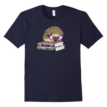 Adorable Hedgehog Book Nerd Tee Shirt