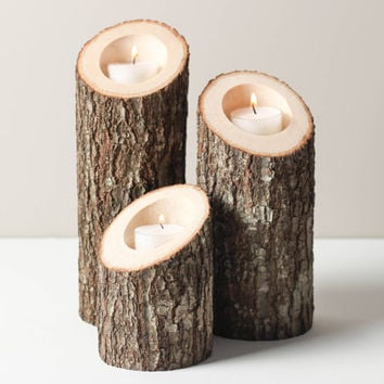 Tree Branch Candle Holders Set of 3 Heights Angled- Rustic Wood Candle Holders, Tree Slice, Wooden Candle Holders, Wedding Centerpiece