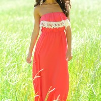 Party In The Hamptons Maxi Dress-Coral