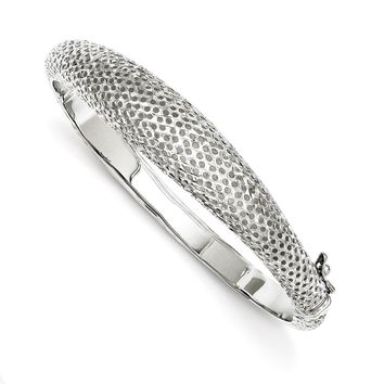 Sterling Silver 6-12.50mm Rhodium Polished Textured Hinged Bangle Bracelet