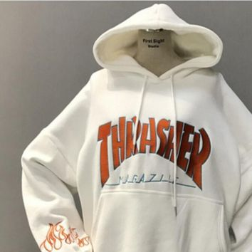 One-nice™ Thrasher Fashion Flame Hooded Top Sweater Pullover Hoodie White