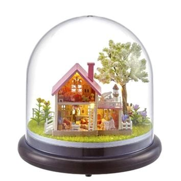 DIY Wooden Dollhouse Villa Model Hut glass domes LED Lights