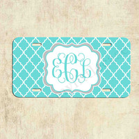 Monogrammed license plate - Teal Blue Lattice - Personalized License Plate - Car Tag - Front Plate