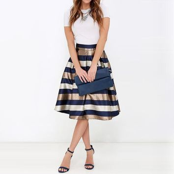 NELLBANG Sexy Women Stretch Natural Waist Pleated skirt Striped Printed Casual Knee-Length Skirt 2017 elegant skirt