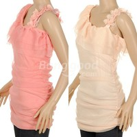 Korean Chiffon flower inclined shoulder dress Sleeveless Free Shipping!  - US$9.96