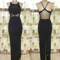 Vintage 80s 90s Dramatic Mesh Cutout Waist Bombshell Gown Avant-Garde Wiggle Dress 3/4 S/ XS
