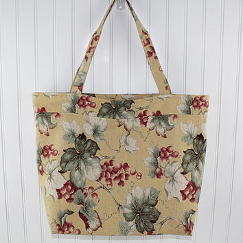 Grapevine Print on Gold Large Tote Bag, Farmers Market Bag, Reusable Grocery Bag, MK112