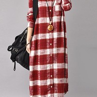 Casual Plaid Print Splited Lapel Long Sleeve Women Mid-long Dress