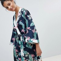 New Look Tropical Leaf Print Robe at asos.com