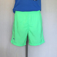 Vintage 80s NEON FLUORESCENT SURF Beach Slazenger Green Unisex Small Lined Swim Shorts