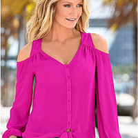 Cut Out Shoulder Long Sleeve Buttoned Shirt