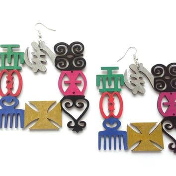 Sale........African Wooden Earrings Ghana Adinkra Symbol, Multi Symbols, Gye nyame Earrings Hand Painted Culture Earrings.....ready to ship