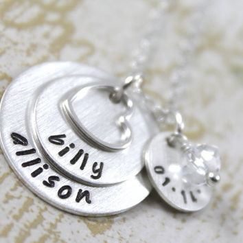 Personalized Necklace Anniversary Necklace for Wife with Couples Names and Anniversary Date, Wedding Gift, All Sterling Silver