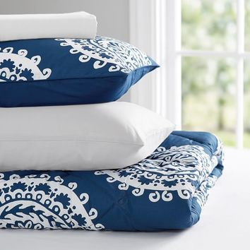 Medallion Florette Value Comforter Set, Royal Navy