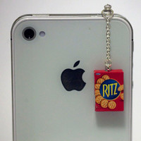 Kawaii RITZ CRACKERS Iphone Earphone Plug/Dust Plug - Cellphone Headphone Handmade Decorations