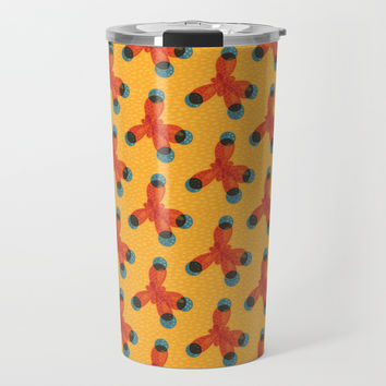 Orange Methane Molecule Travel Mug by borianagiormova