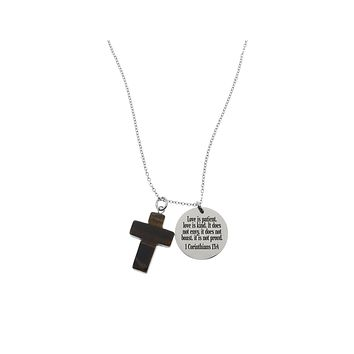Bible Scripture Necklace With Natural Tiger-Eye Cross Gemstone By Pink Box