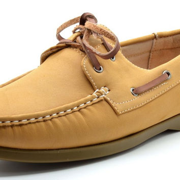 Bruno Marc MODA ITALY SUNSEEKER Men's Casual Loafers Two-Eye Contrasting Leather Lace Up Classic Driving Boat shoes 2-tan 10 D(M) US '